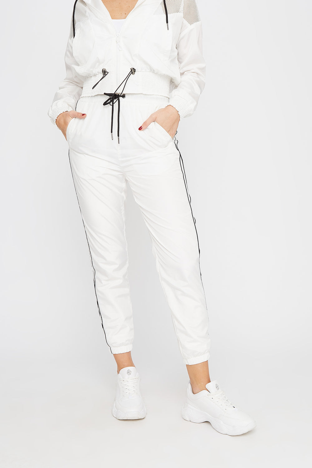 Net Insert Neon Piping Windbreaker Jogger White