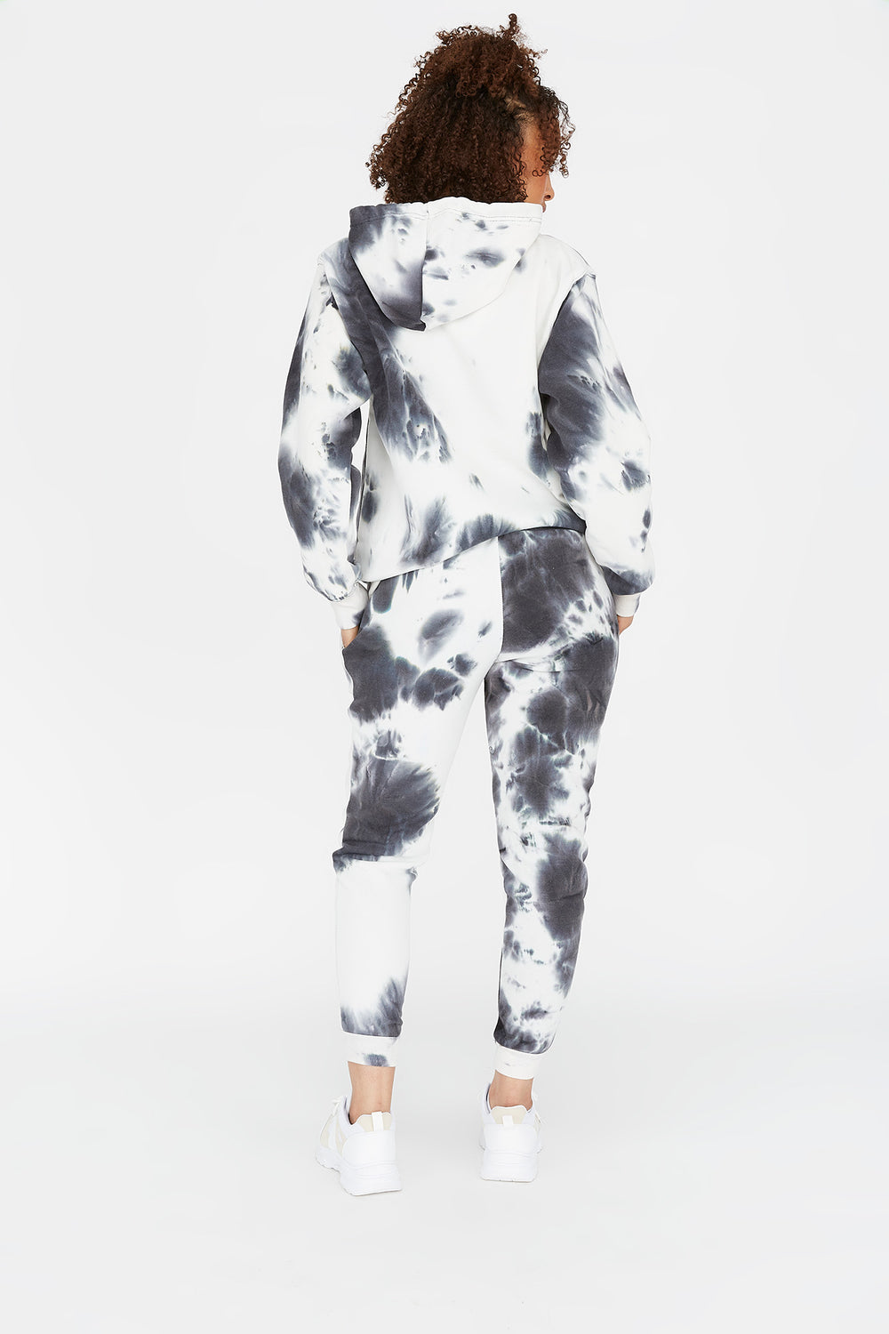 Tie-Dye Drawstring Jogger Black with White