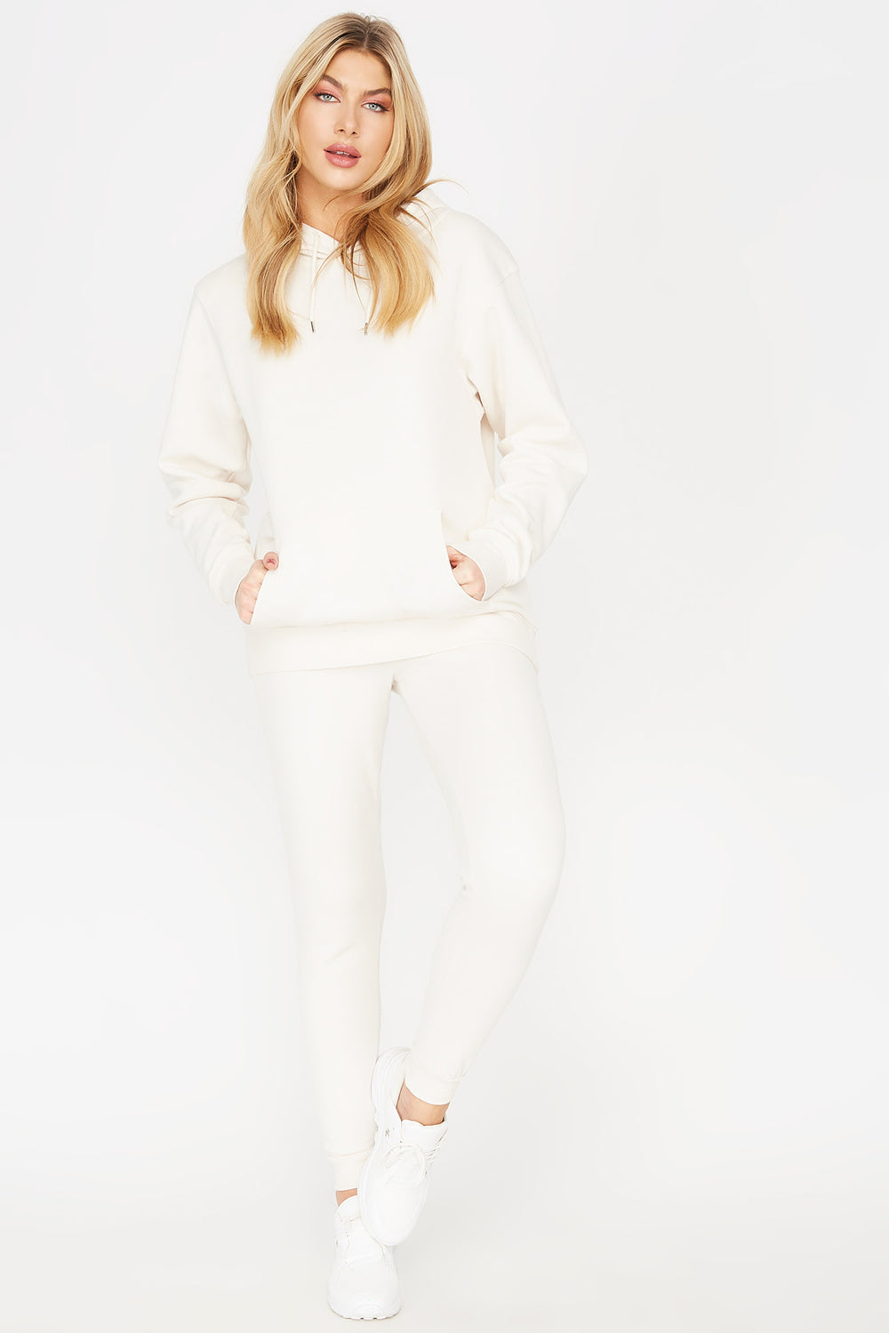 Basic Fleece Drawstring Jogger Ivory