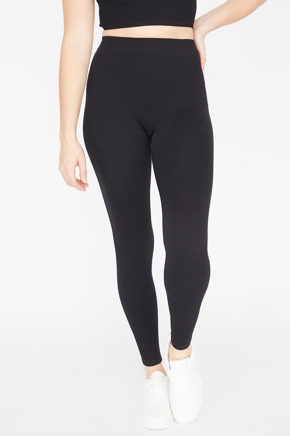 Ribbed Pull-On Legging Black