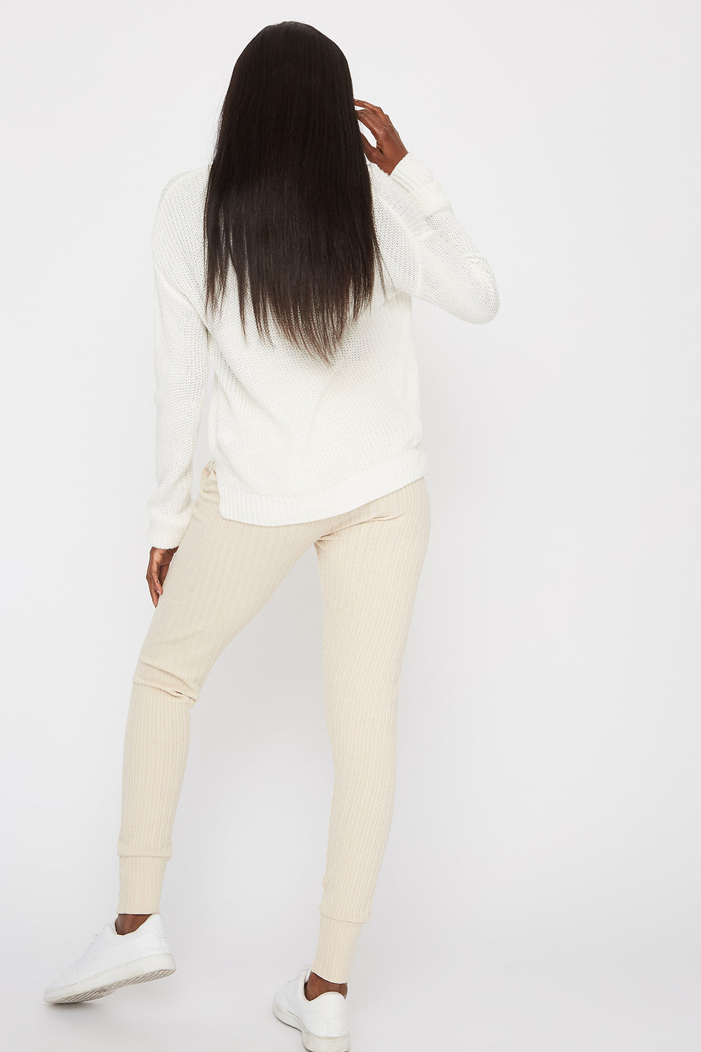 Knit Ribbed Jogger Oatmeal