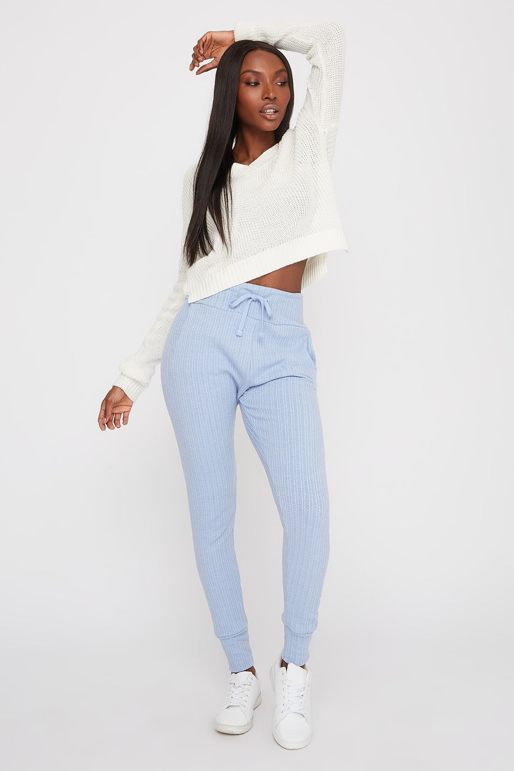 Knit Ribbed Jogger Light Blue