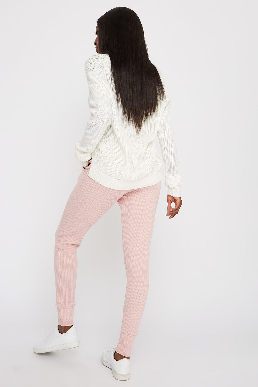 Knit Ribbed Jogger Dusty Rose