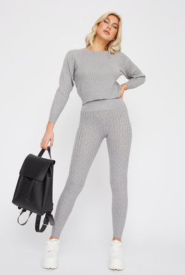 High-Rise Cable Knit Legging