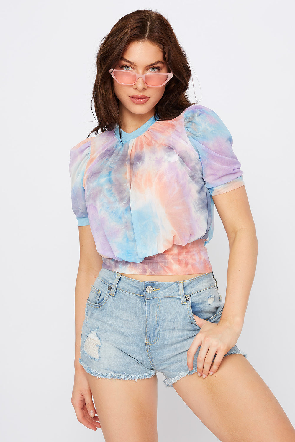 Tie Dye Puff Sleeve Mesh T-Shirt Purple