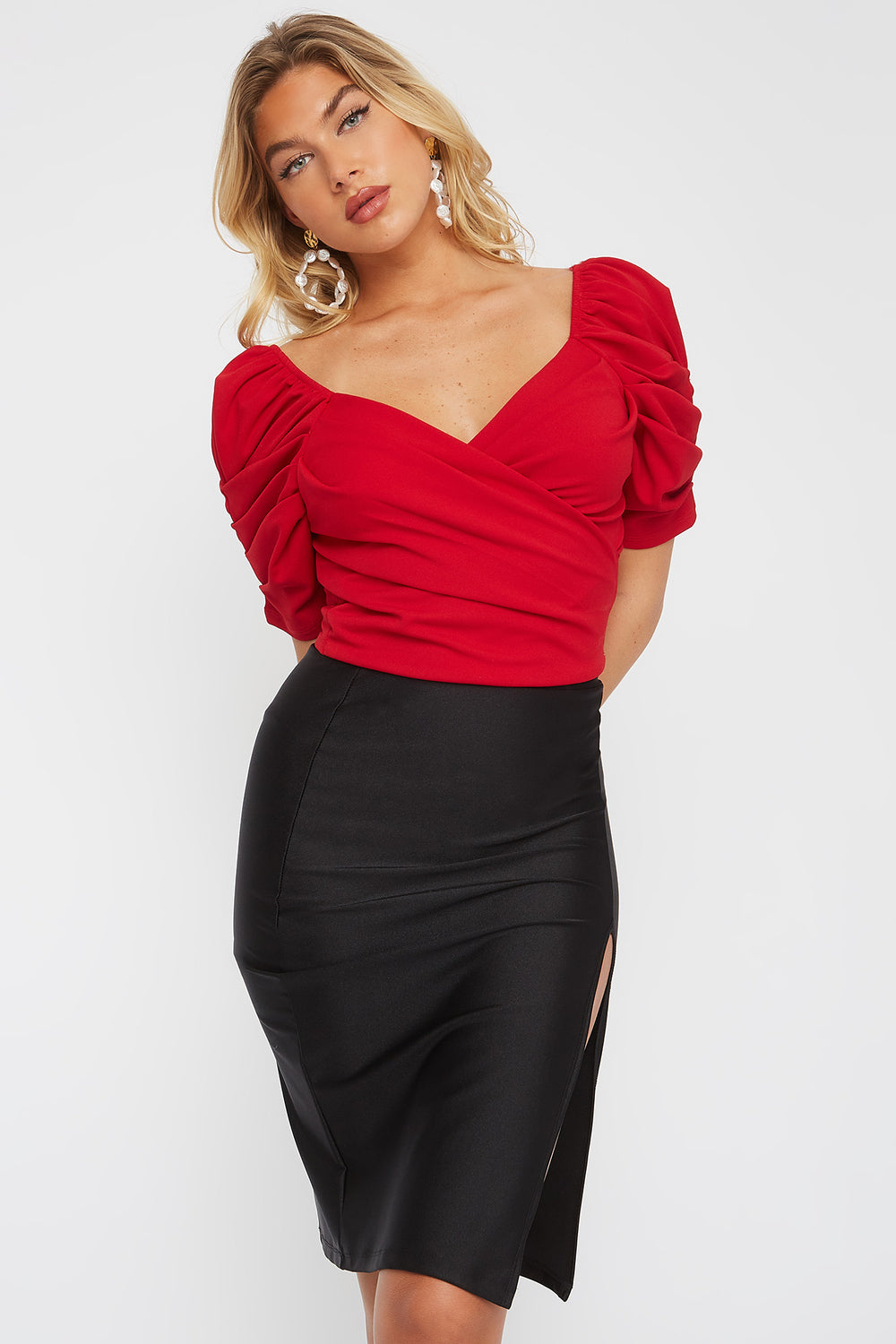 Crepe Puff Sleeve Wrap Blouse Bright Red