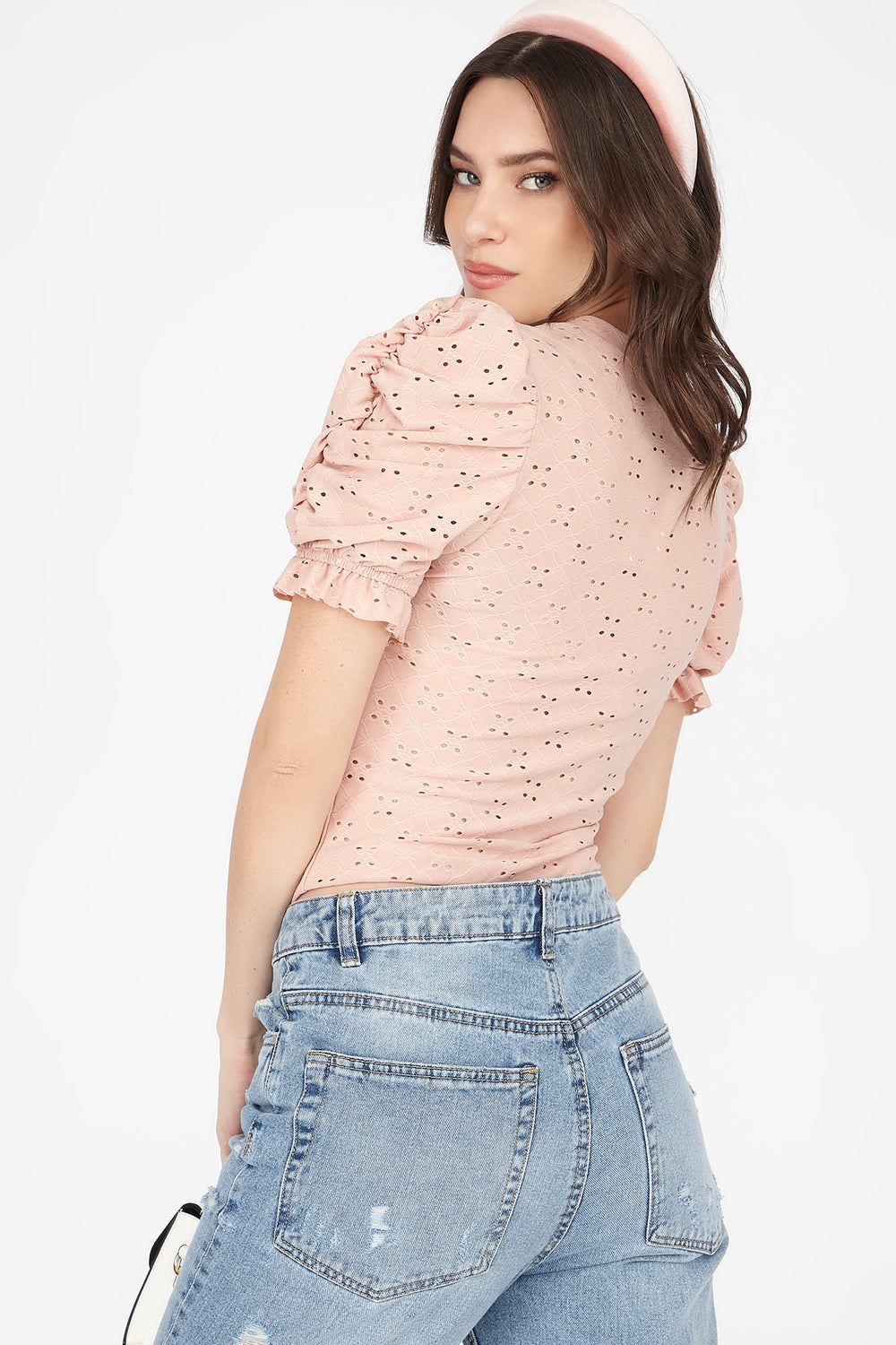 Eyelet Crew Neck Puff Sleeve Top Dusty Rose