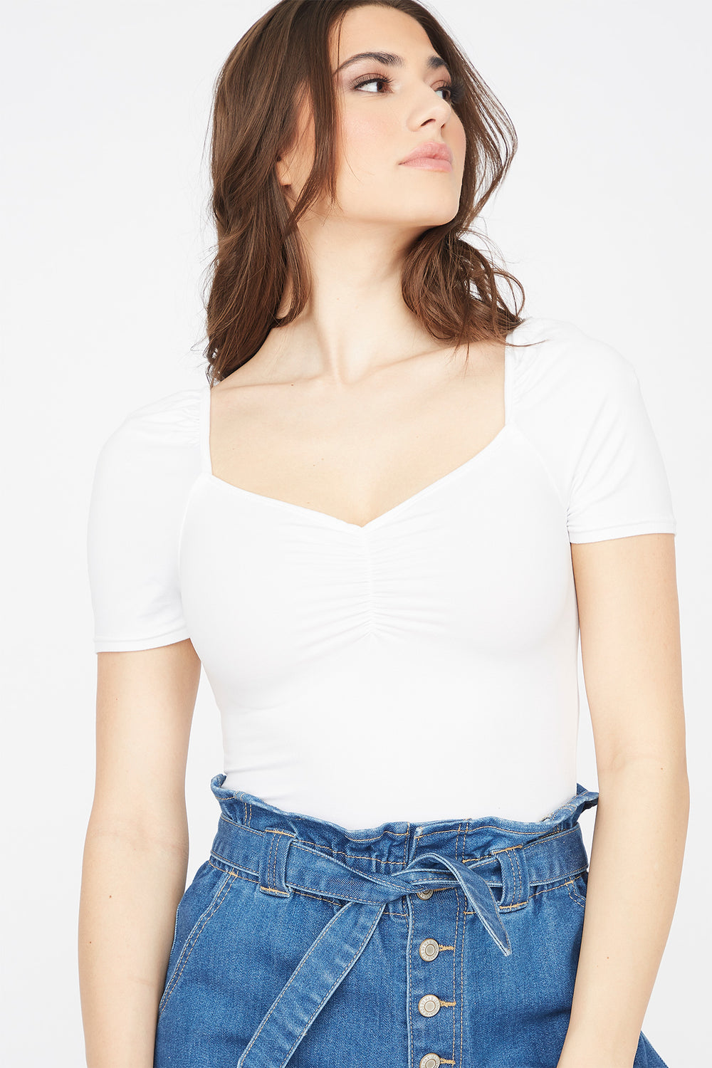 Soft Cinched Front Puff Sleeve T-Shirt White