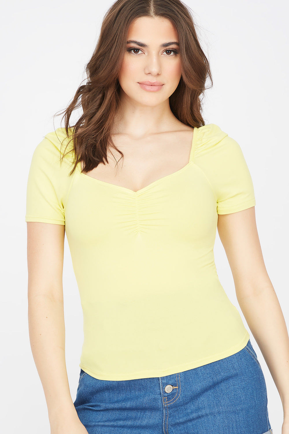 Soft Cinched Front Puff Sleeve T-Shirt Pale Yellow
