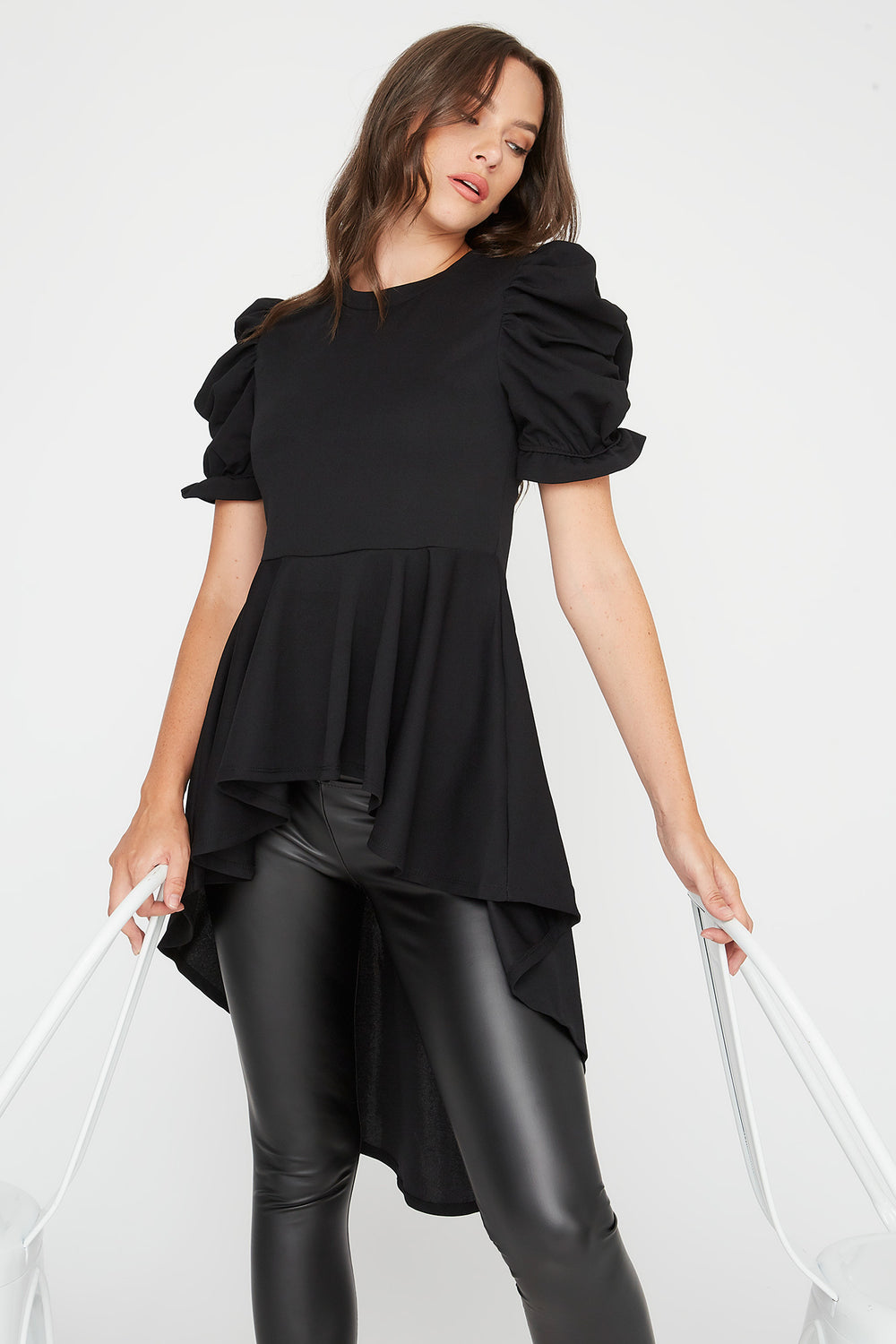 Crepe Crew Neck Puff Sleeve High-Low Top Black