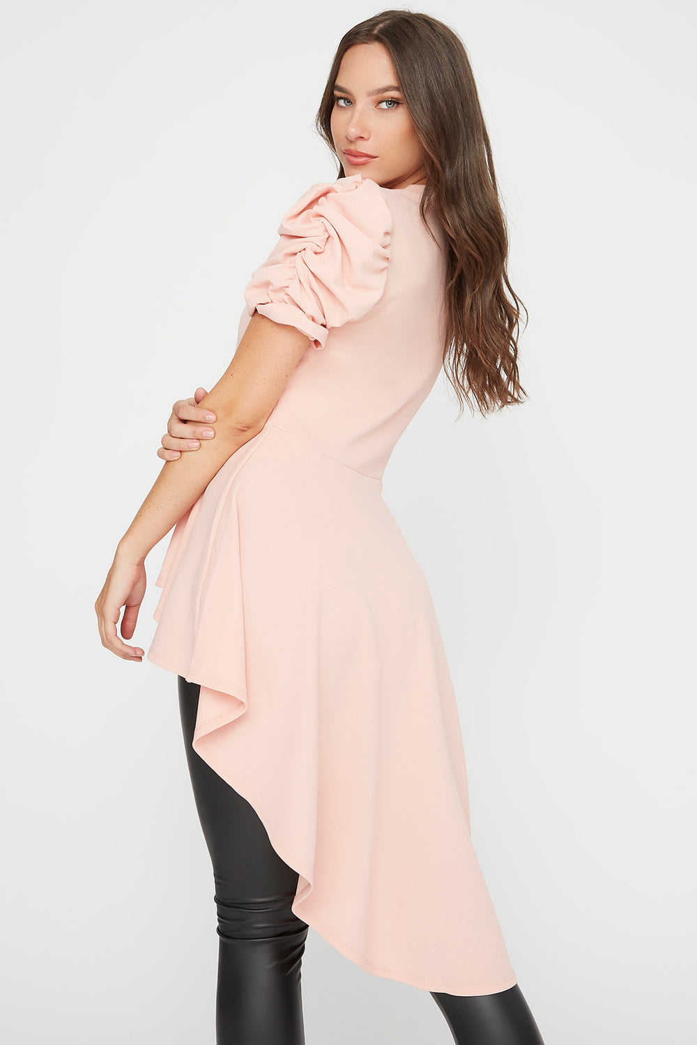 Crepe Crew Neck Puff Sleeve High-Low Top Dusty Rose