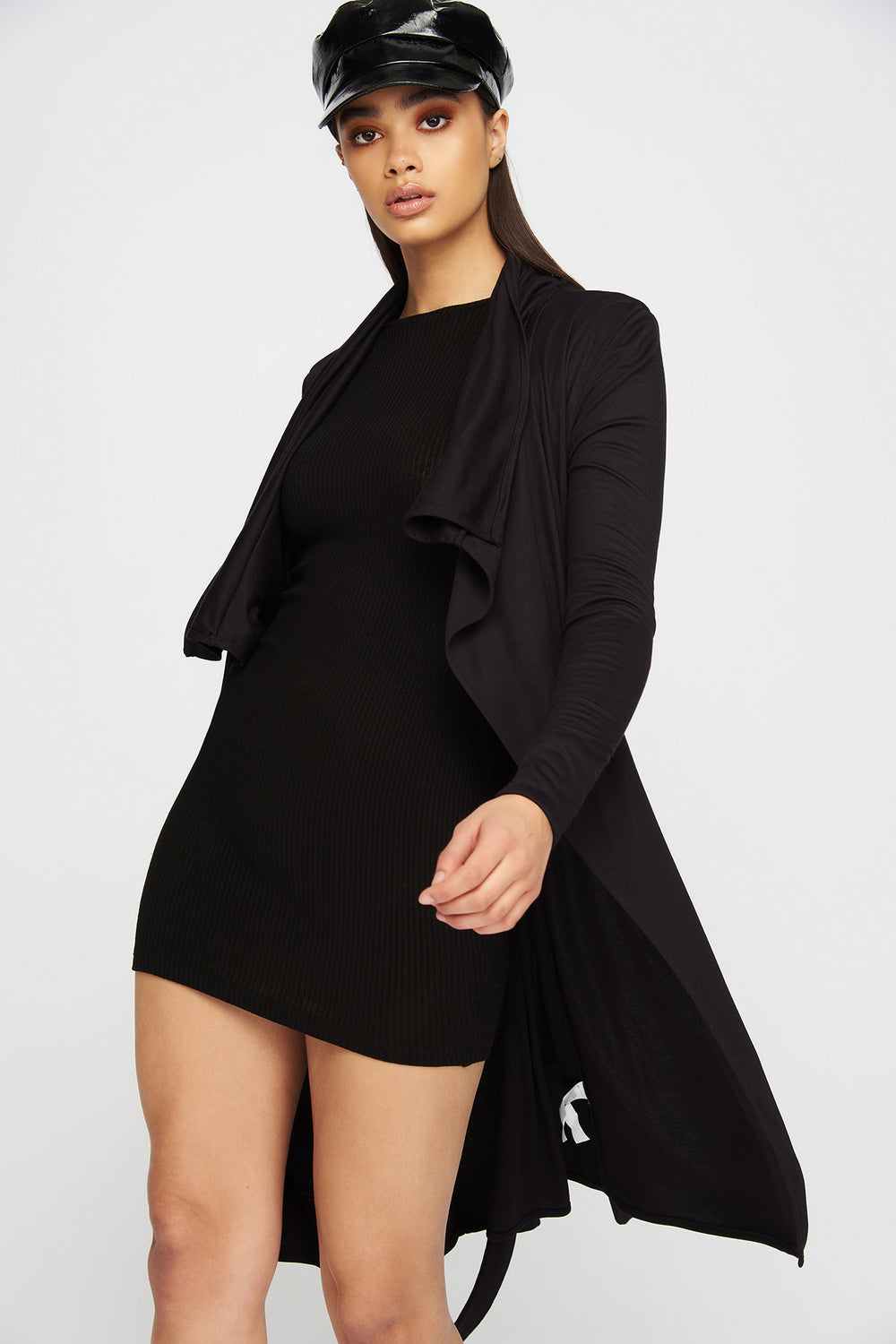Waterfall Open-Front Belted Cardigan Black