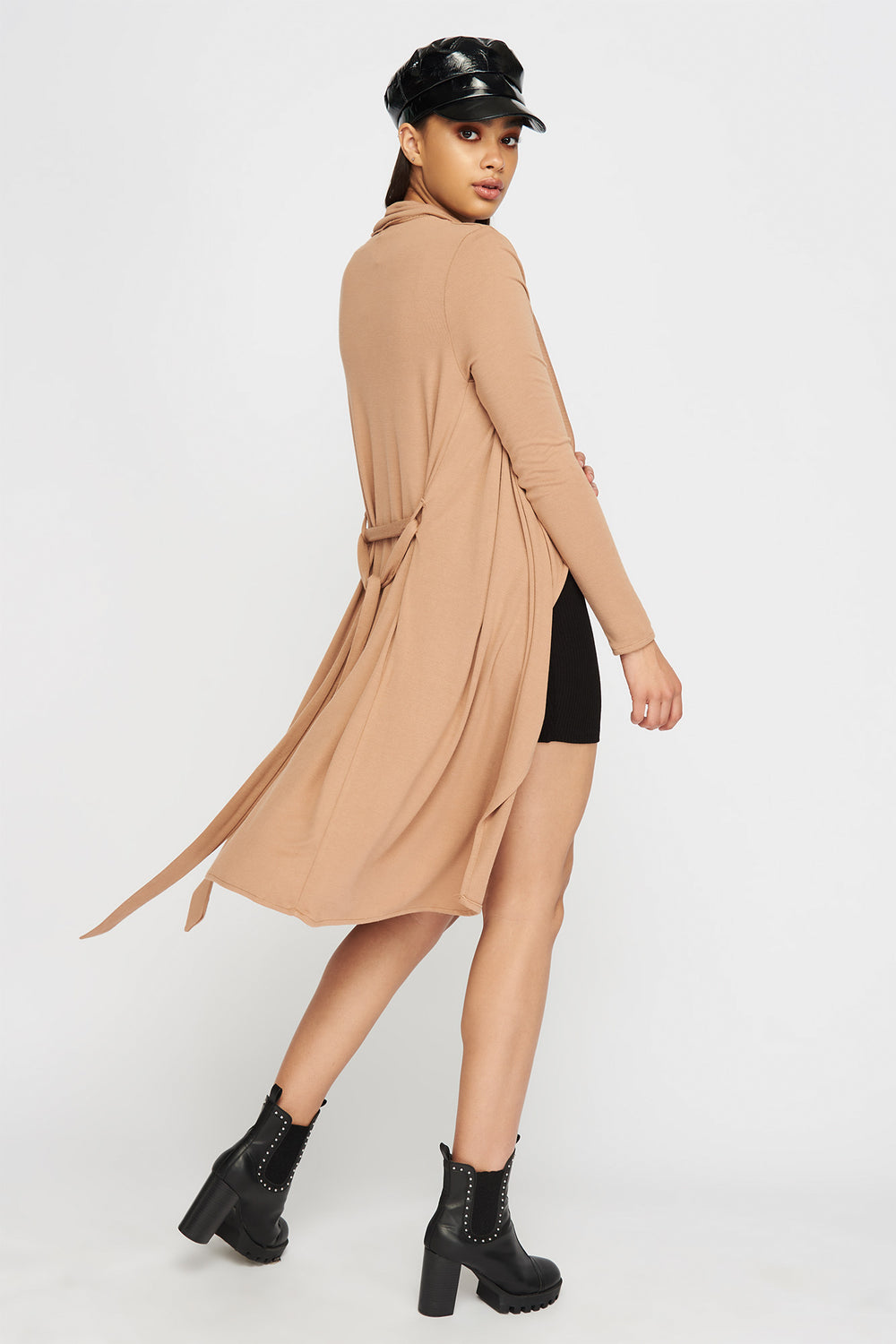 Waterfall Open-Front Belted Cardigan Light Brown