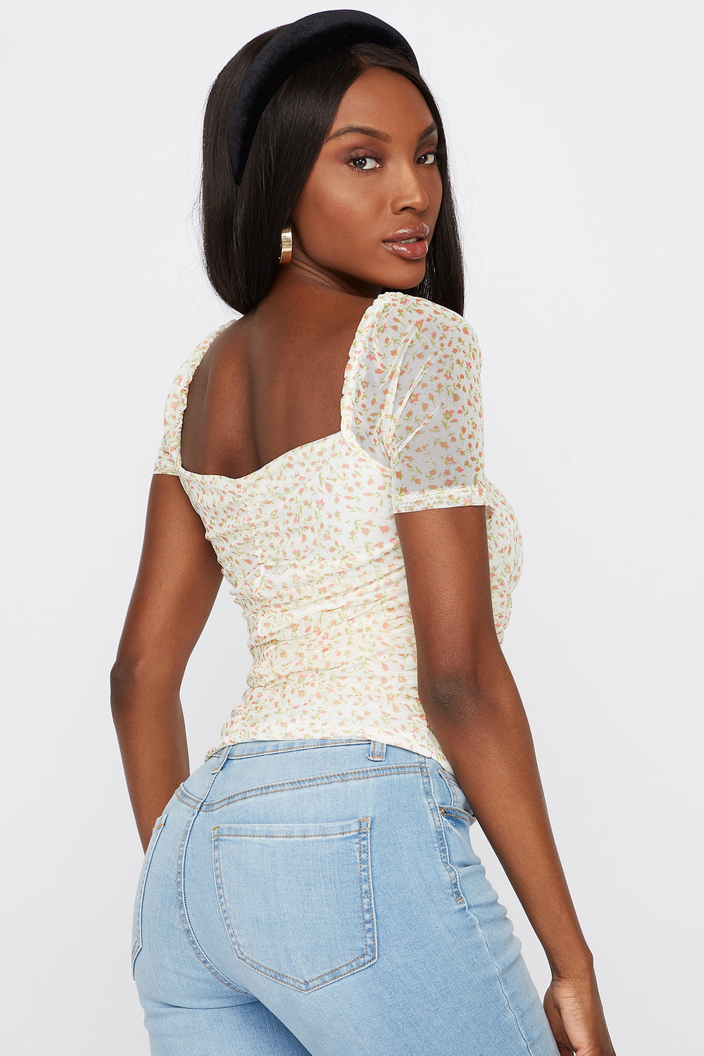 Floral Mesh Ruched Sweetheart Neck Top White