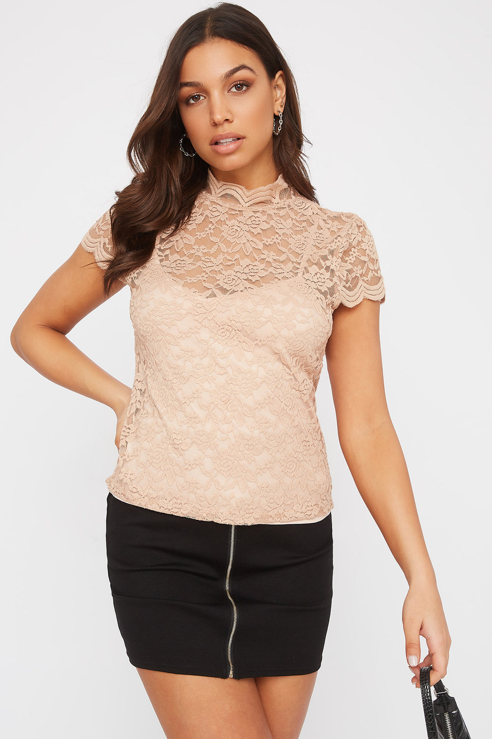 Lace Scallop Short Sleeve and Camisole Taupe