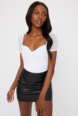 Mesh Ruched Short Sleeve Shirt