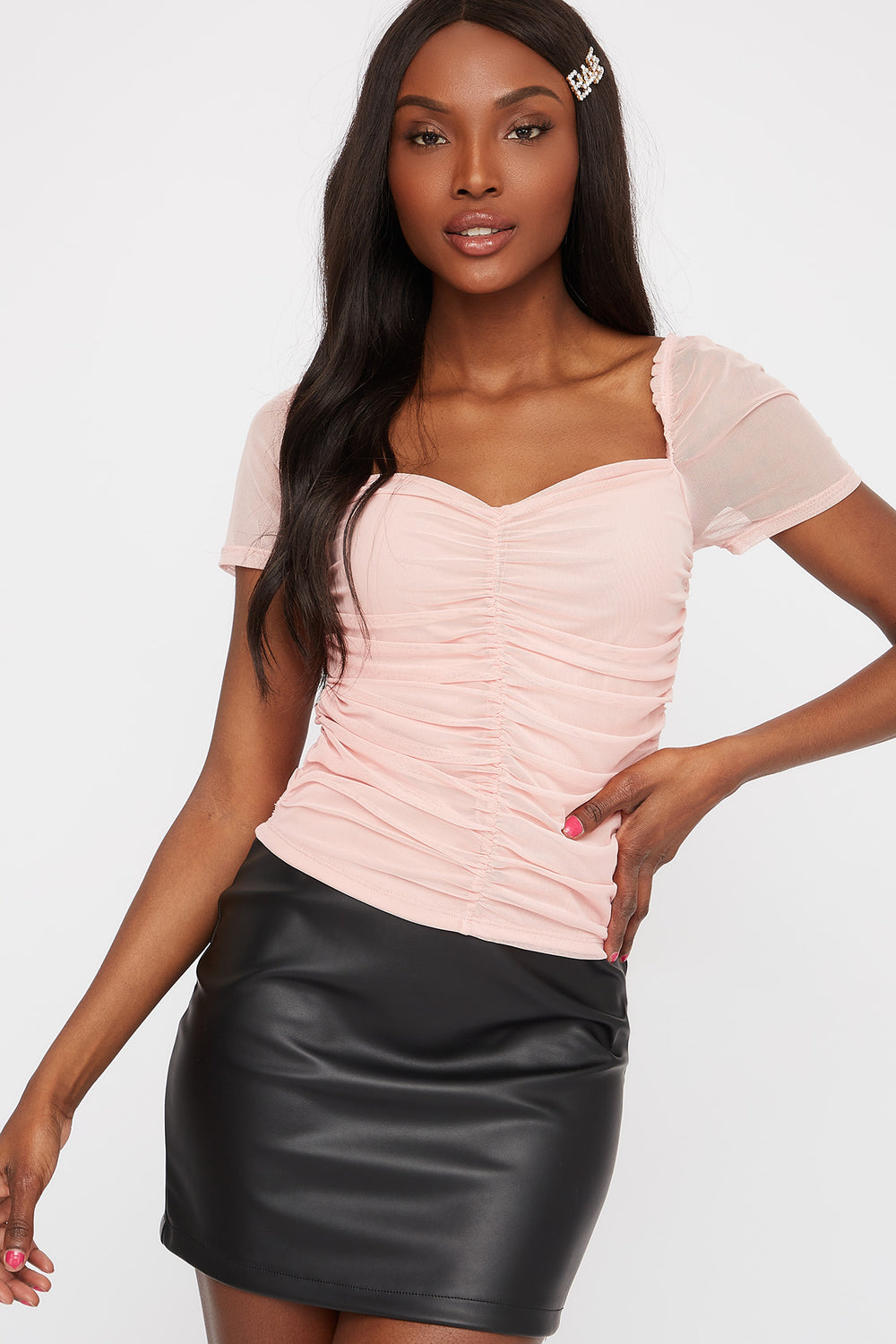 Mesh Ruched Short Sleeve Shirt Dusty Rose