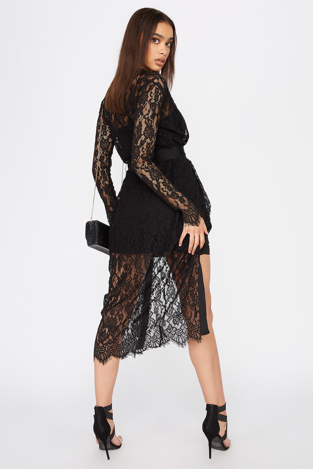 Lace Belted Longline Cardigan Black