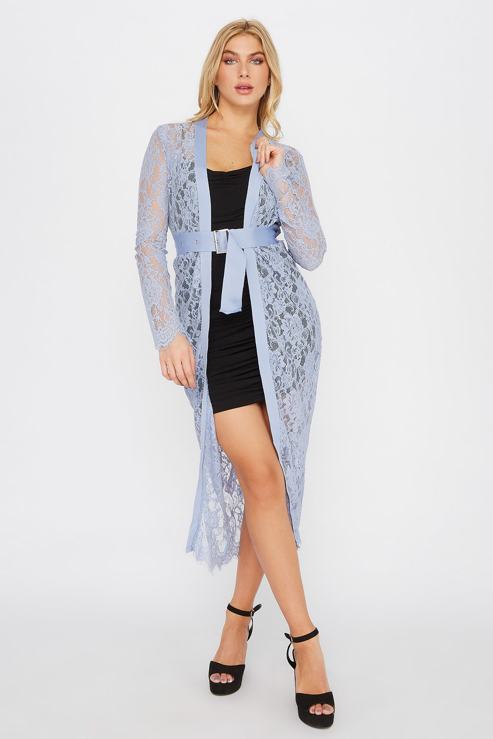 Lace Belted Longline Cardigan Blue