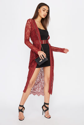 Lace Belted Longline Cardigan
