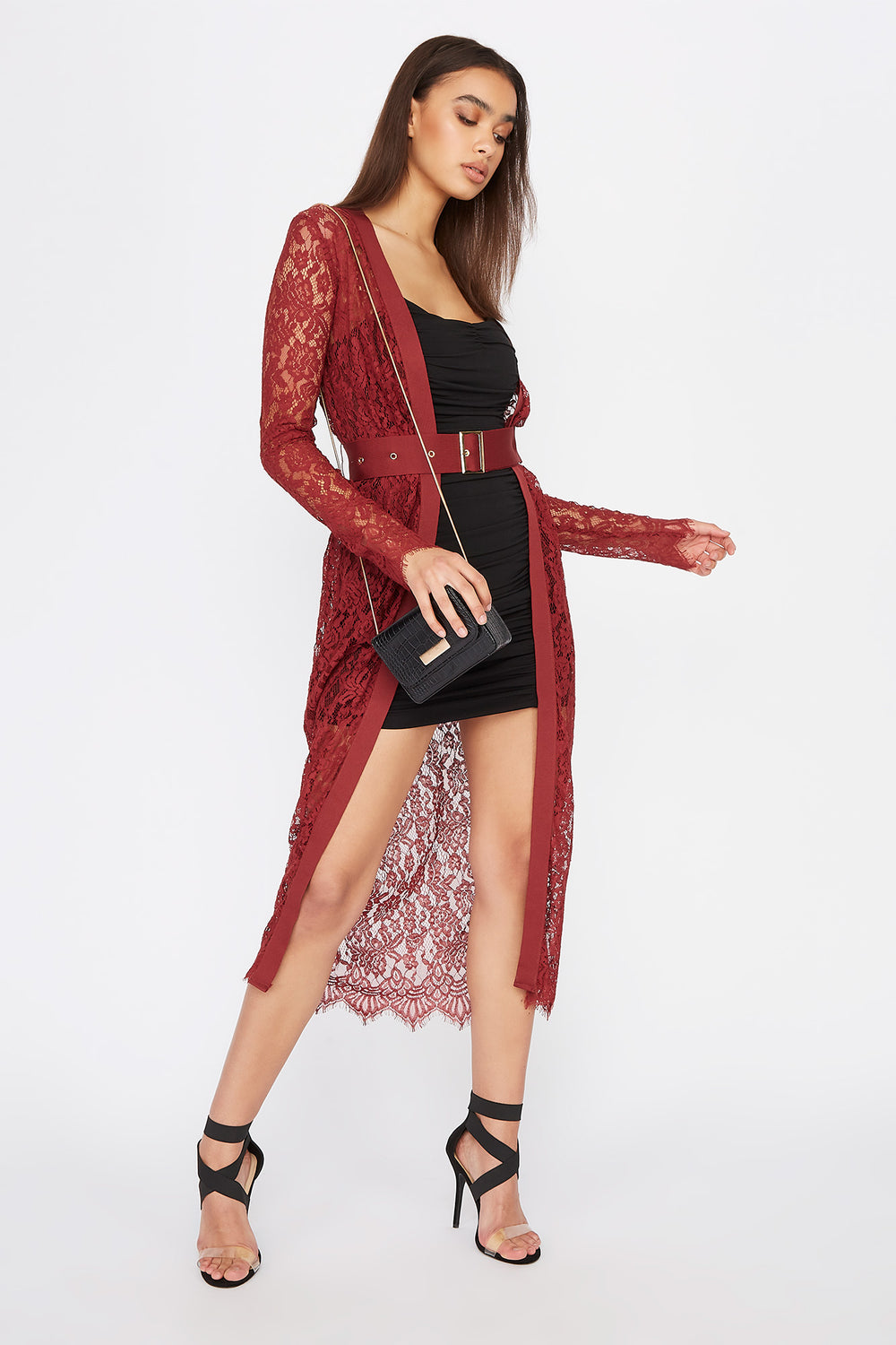 Lace Belted Longline Cardigan Rust