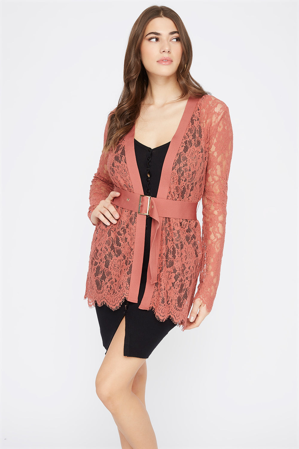 Lace Belted Cardigan Dusty Rose