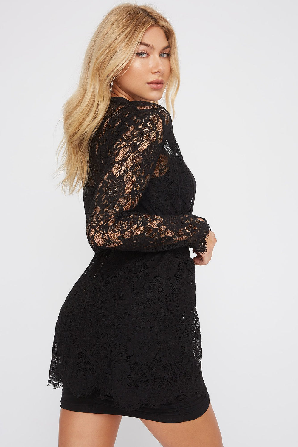 Lace Belted Cardigan Black