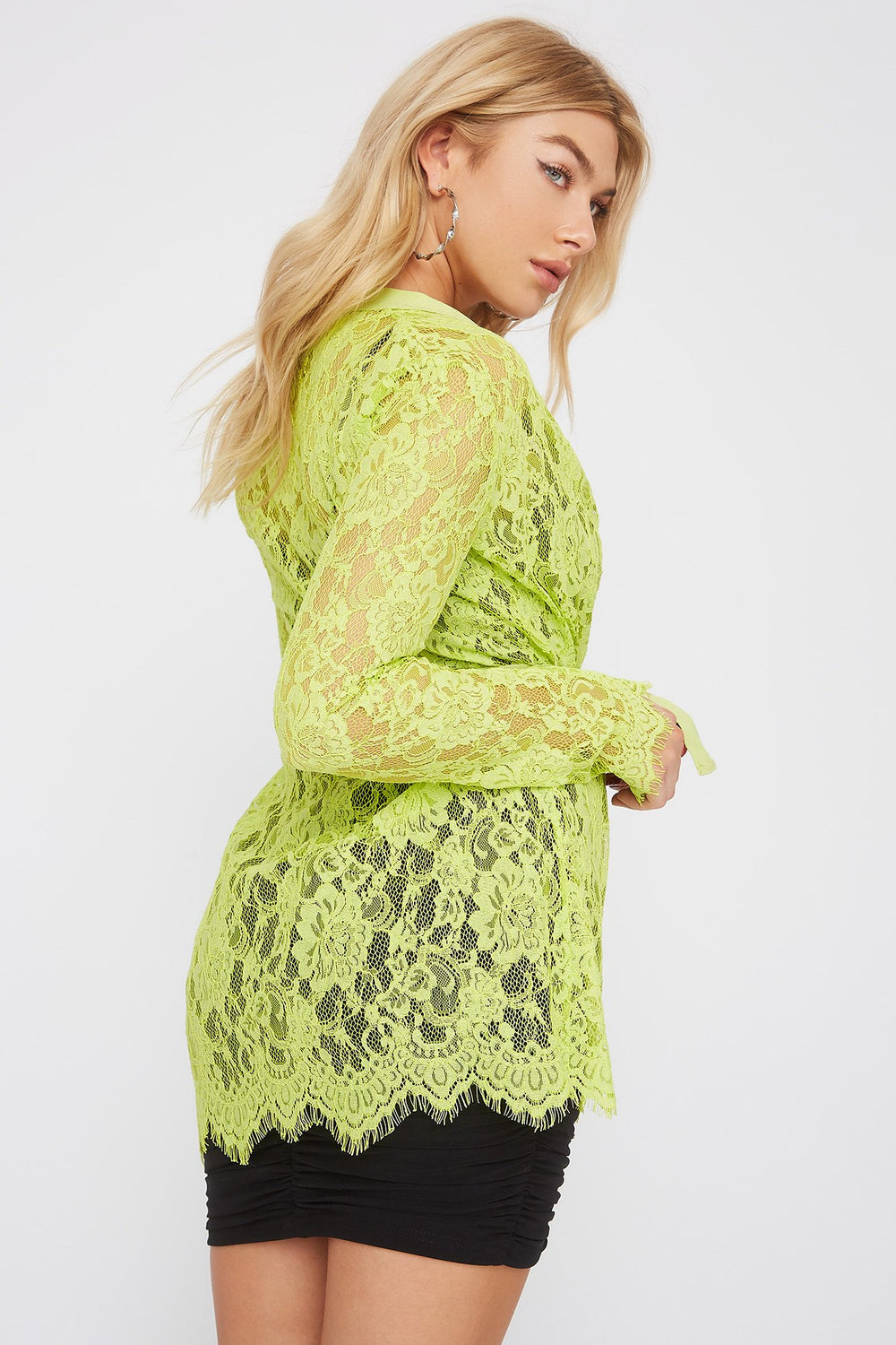 Lace Belted Cardigan Neon Yellow