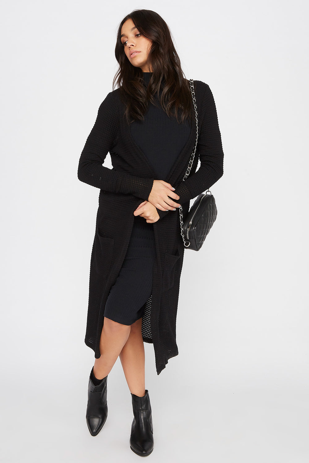 Maxi Waffle Knit Open-Front Cardigan Black