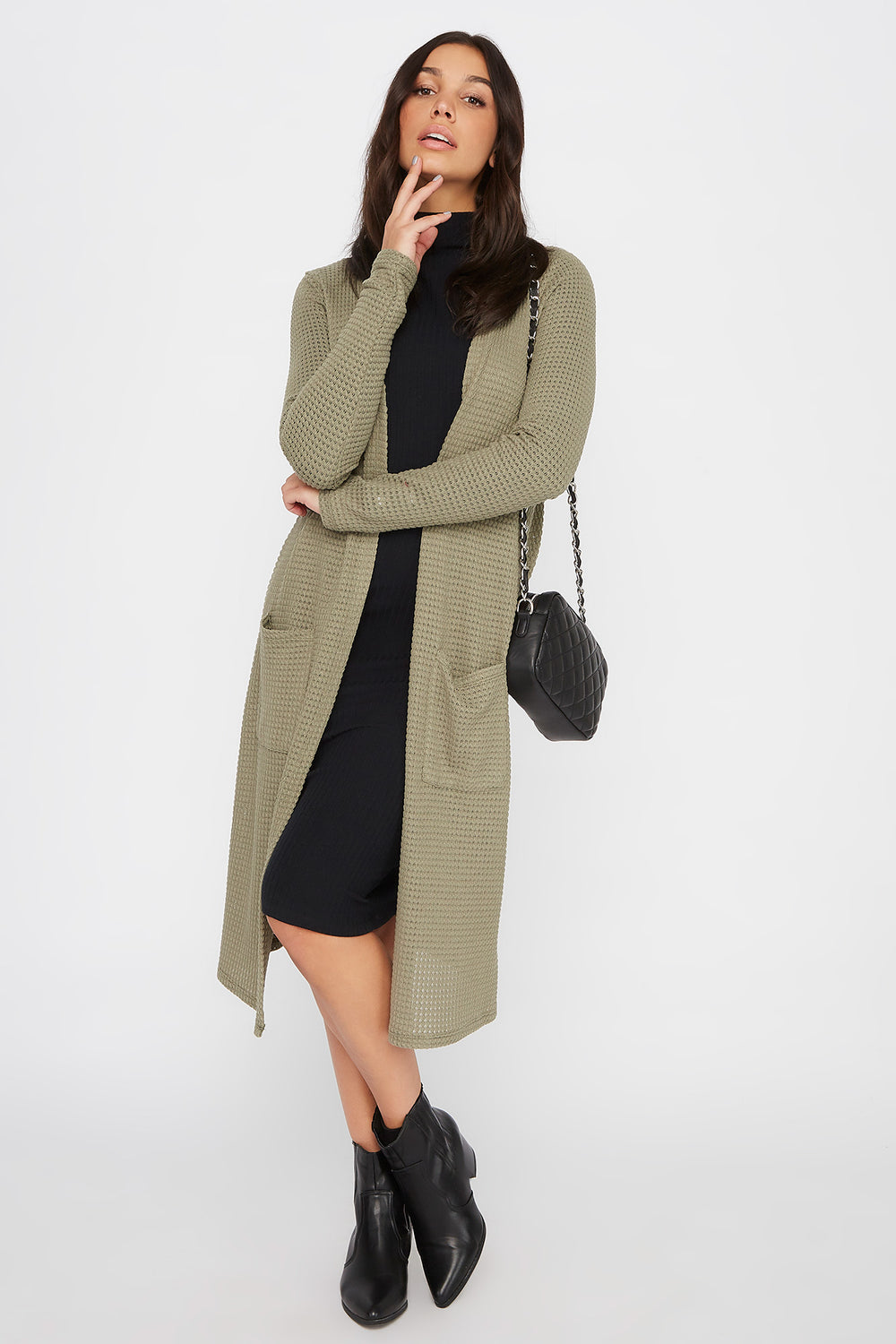Maxi Waffle Knit Open-Front Cardigan Dark Green