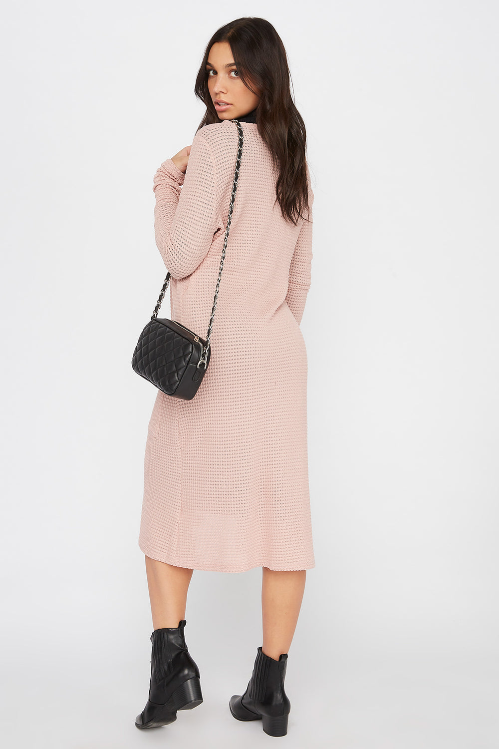 Maxi Waffle Knit Open-Front Cardigan Dusty Rose