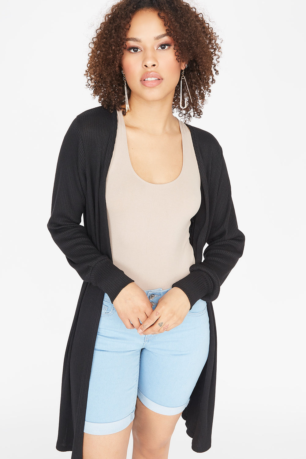 Ribbed Open Front Balloon Sleeve Cardigan Black