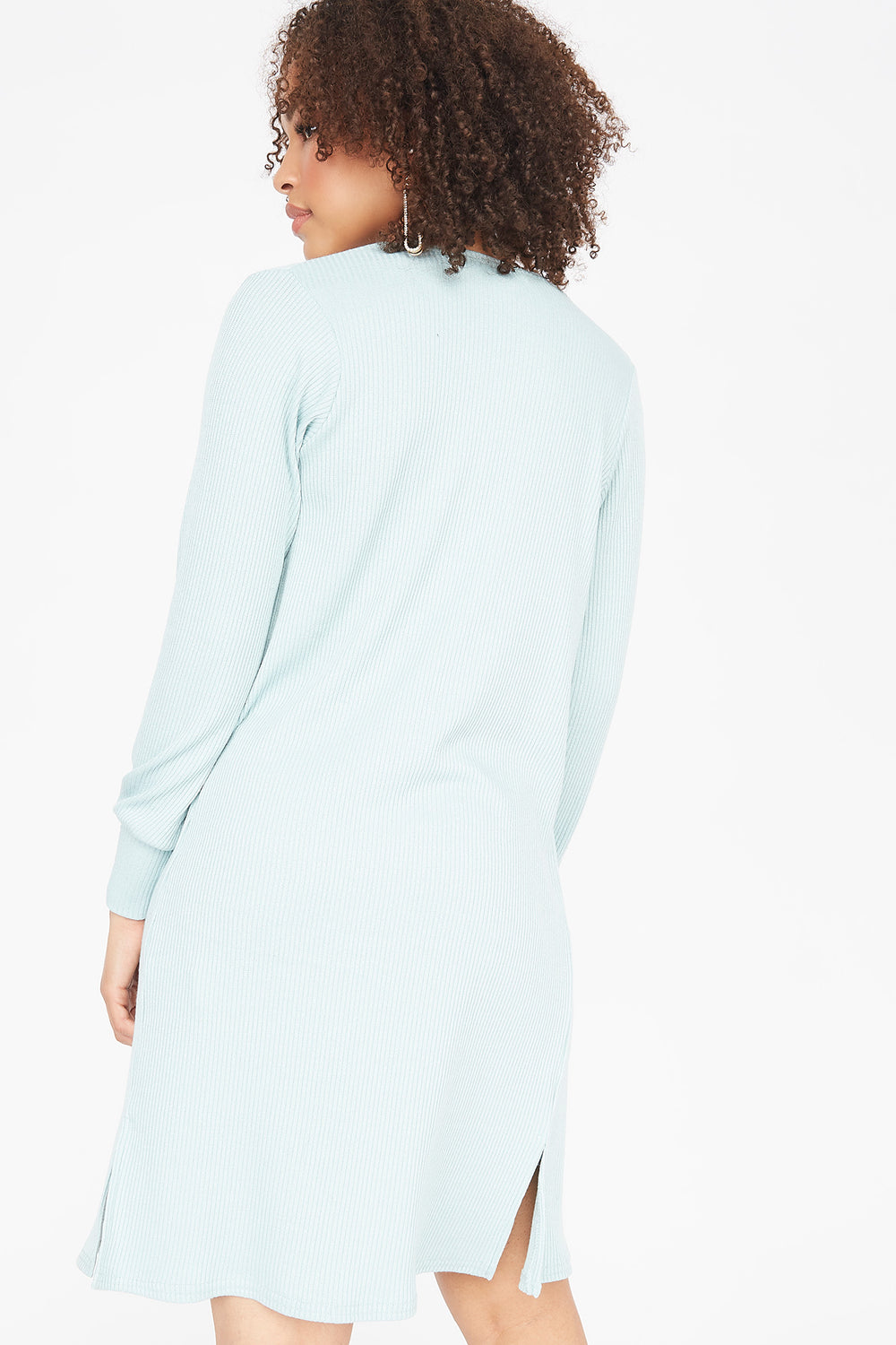 Ribbed Open Front Balloon Sleeve Cardigan Light Blue
