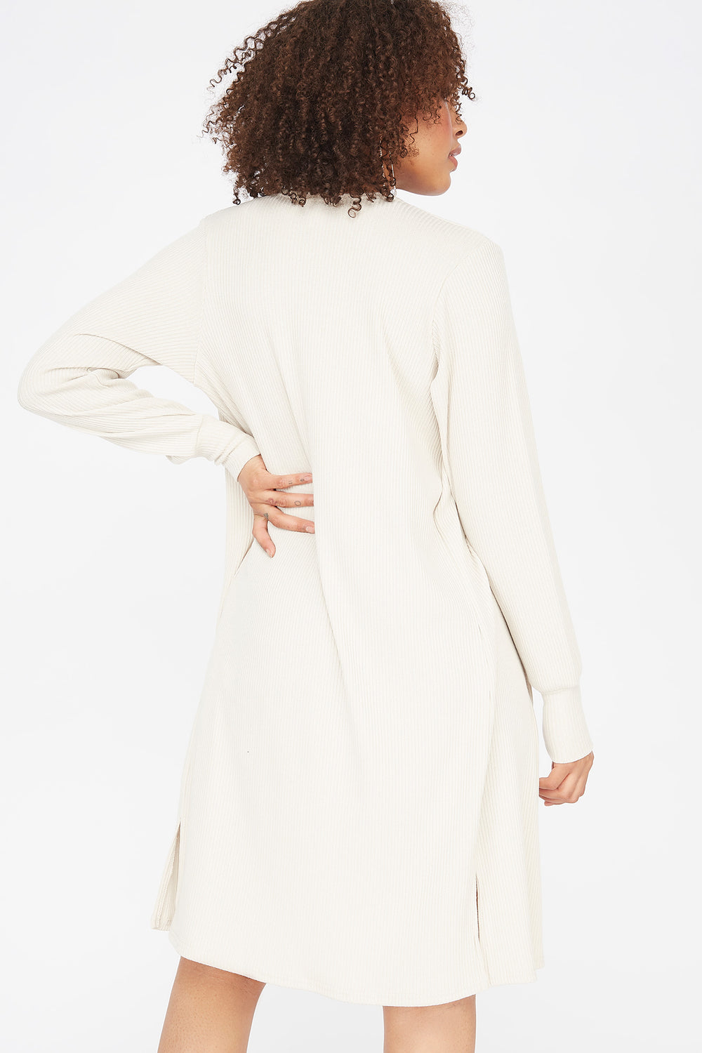Ribbed Open Front Balloon Sleeve Cardigan Oatmeal