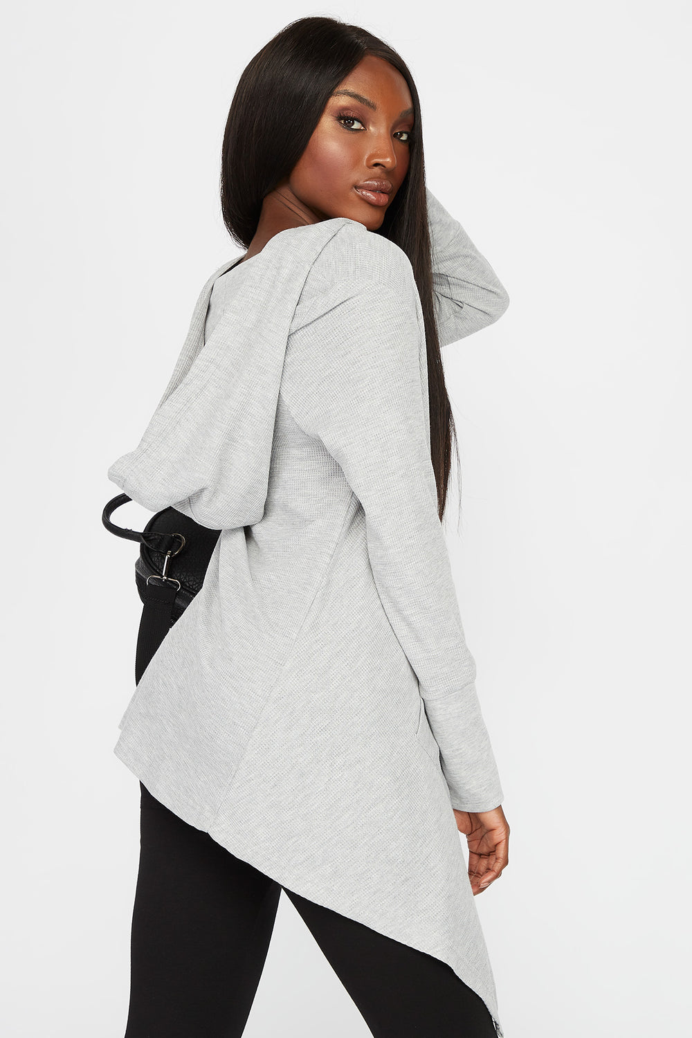 Waffle Hooded Waterfall Cardigan Heather Grey