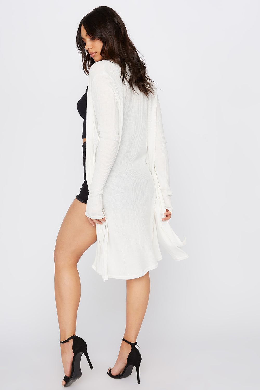 Slit Ribbed Cardigan Ivory