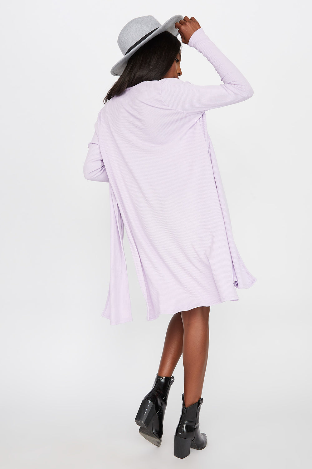 Slit Ribbed Cardigan Lilac