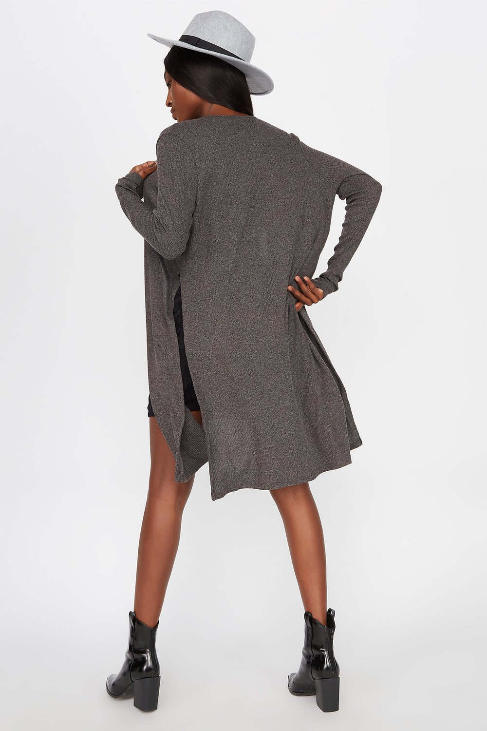 Slit Ribbed Cardigan Charcoal