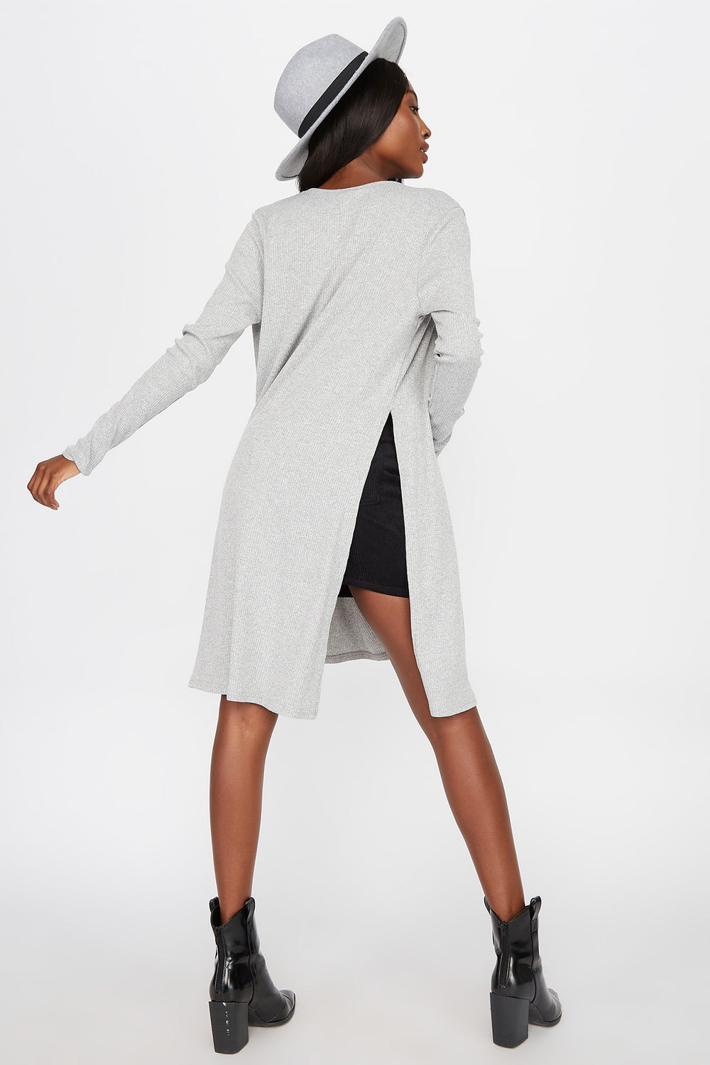 Slit Ribbed Cardigan Heather Grey