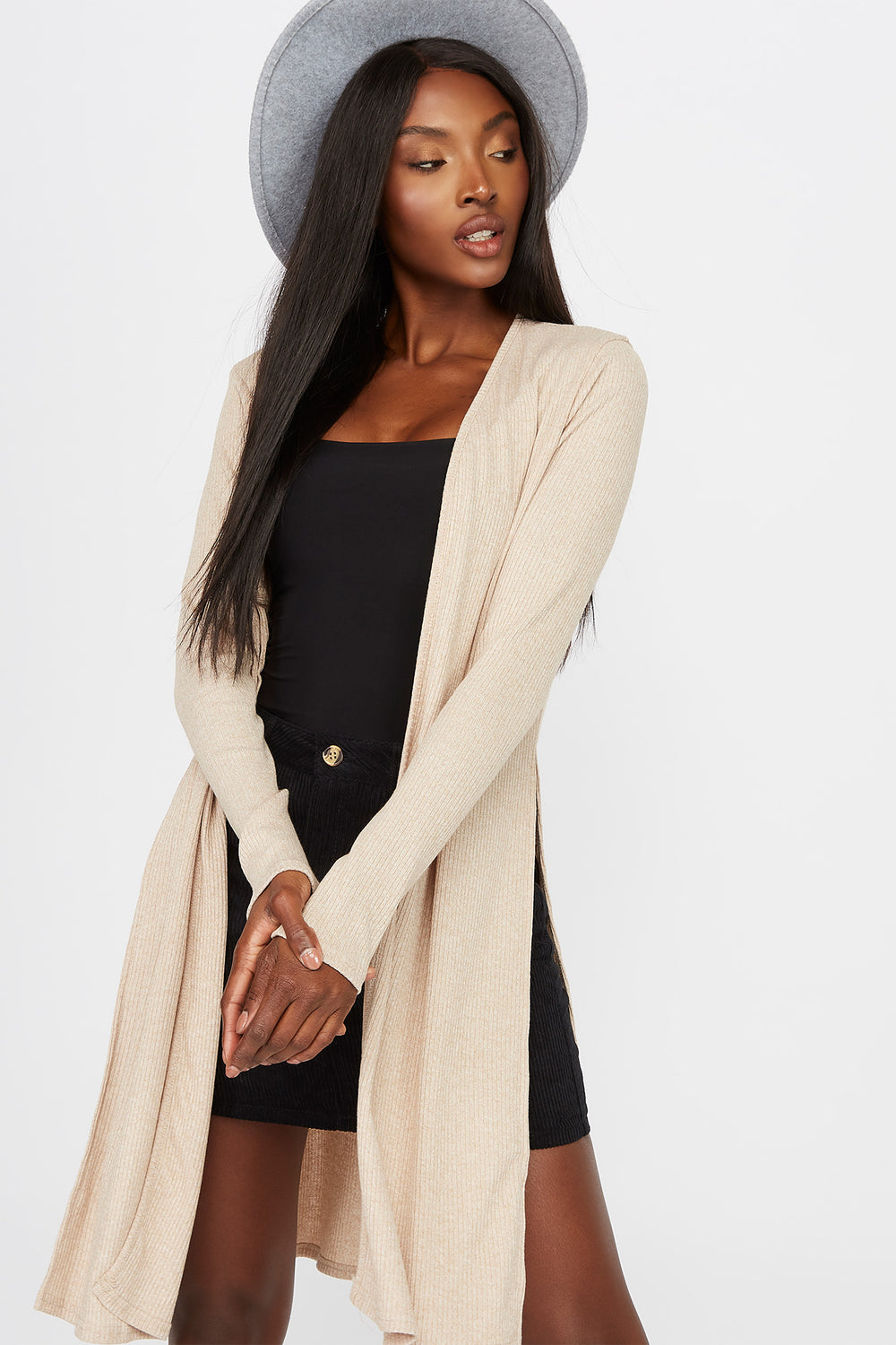Slit Ribbed Cardigan Oatmeal