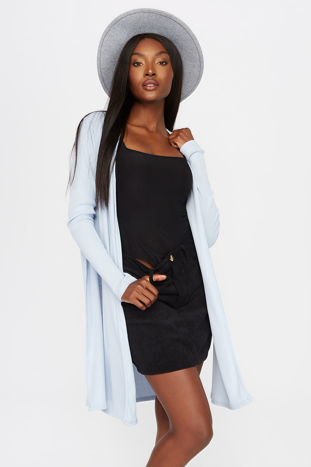 Slit Ribbed Cardigan Light Blue
