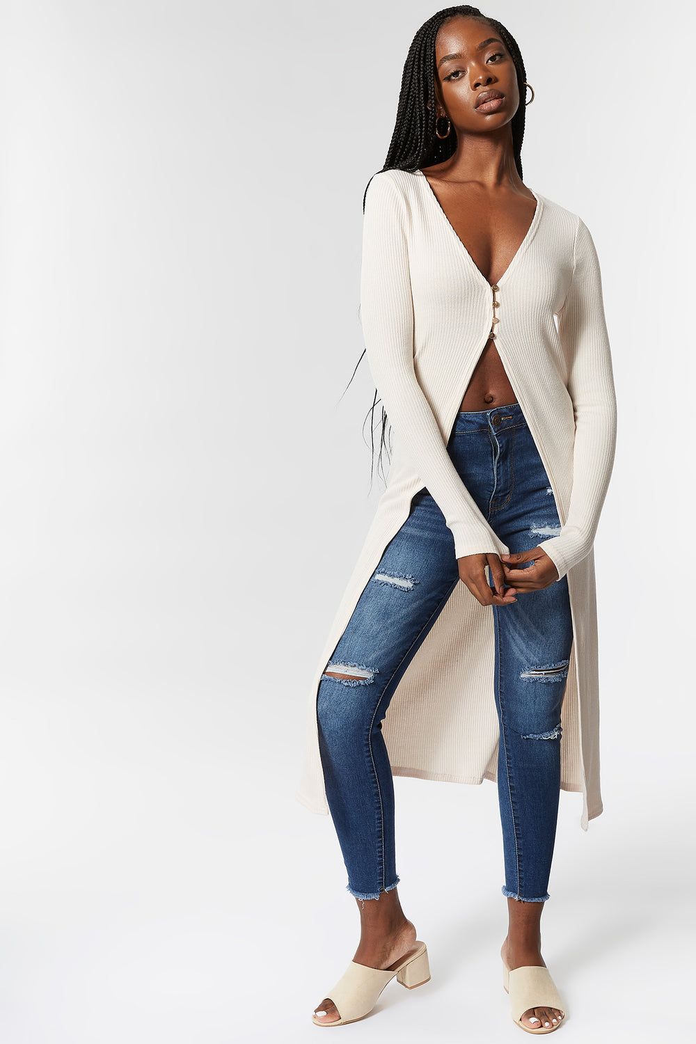 Knit V-Neck Button-Front Longline Cardigan Cream