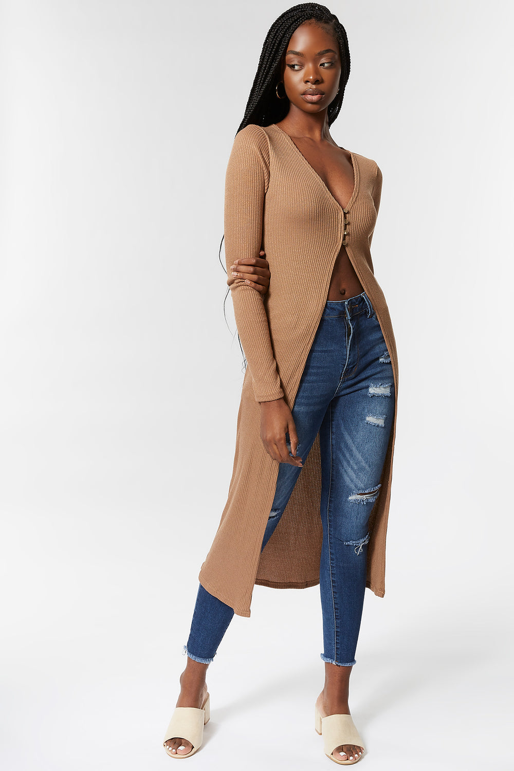 Knit V-Neck Button-Front Longline Cardigan Taupe