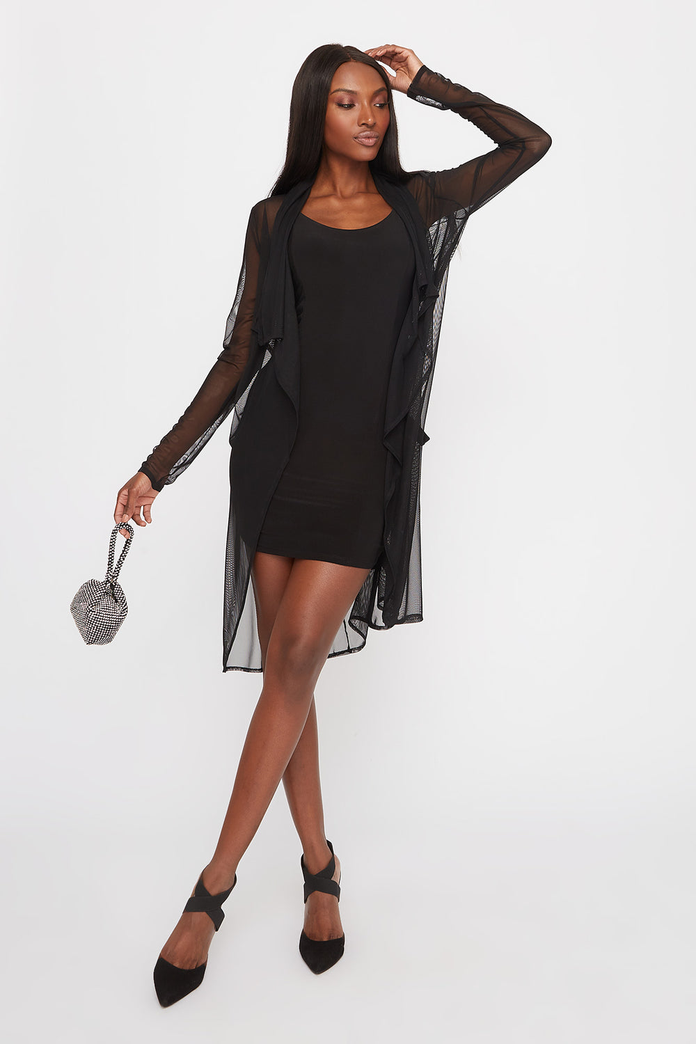 Mesh Waterfall Self Belt Cardigan Black