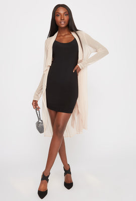 Mesh Waterfall Self Belt Cardigan