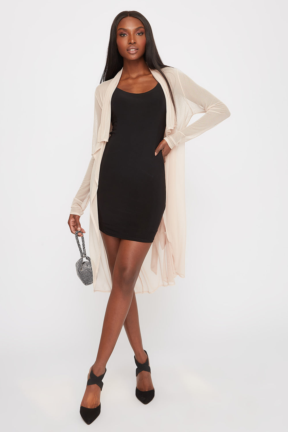 Mesh Waterfall Self Belt Cardigan Beige