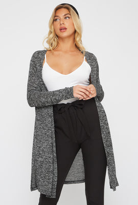 Soft Open-Front Side Slit Cardigan