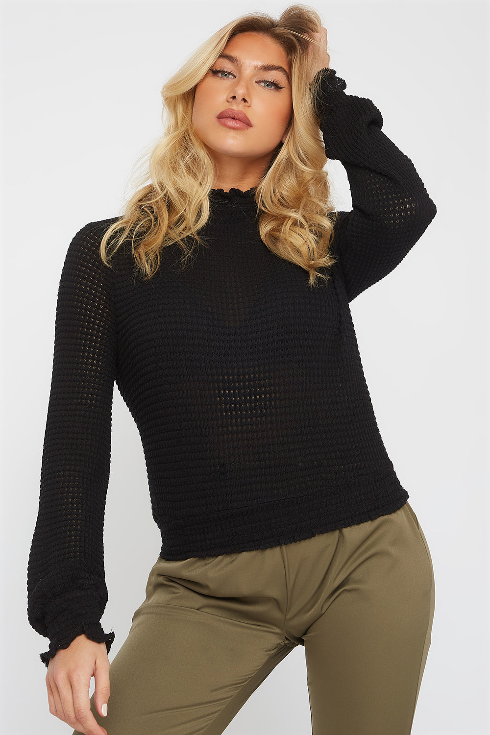 Soft Knit Smocked Turtleneck Long Sleeve Black