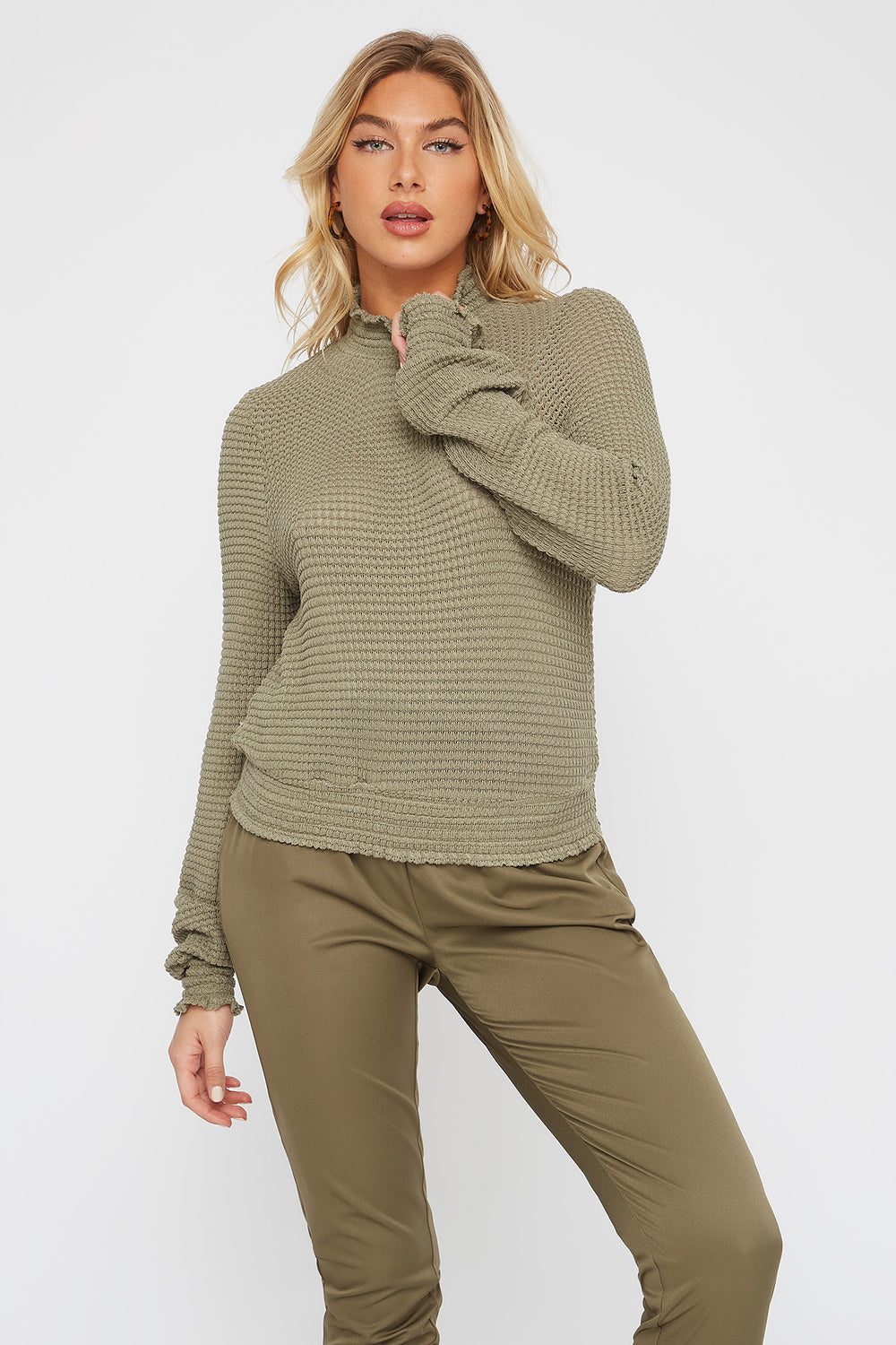Soft Knit Smocked Turtleneck Long Sleeve Dark Green