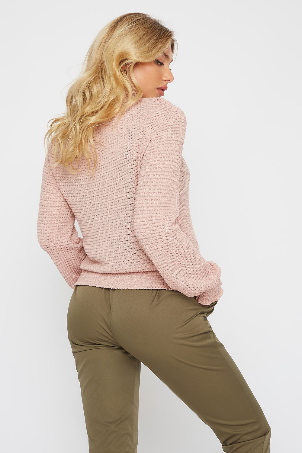Soft Knit Smocked Turtleneck Long Sleeve Dusty Rose